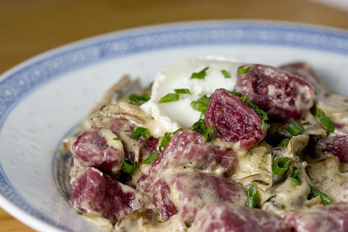 Beetroot Gnocchi with wild mushroom sauce2