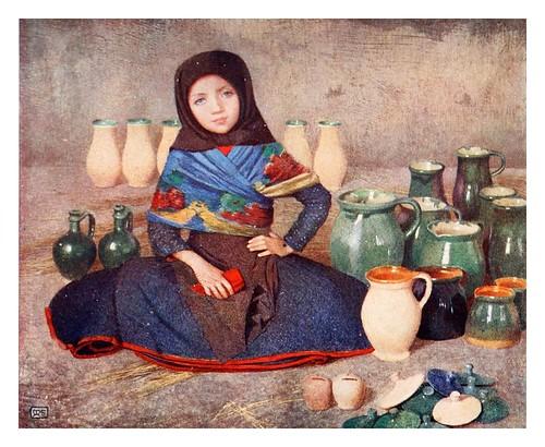 016-Niña vendiendo jarras de barro en el mercado de Kalocsa-Hungary-1911-Adrian y Marianne Stokes