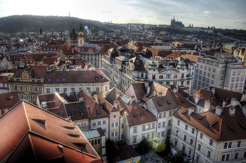 View of Prague at sunset. Vista de Praga al atardecer