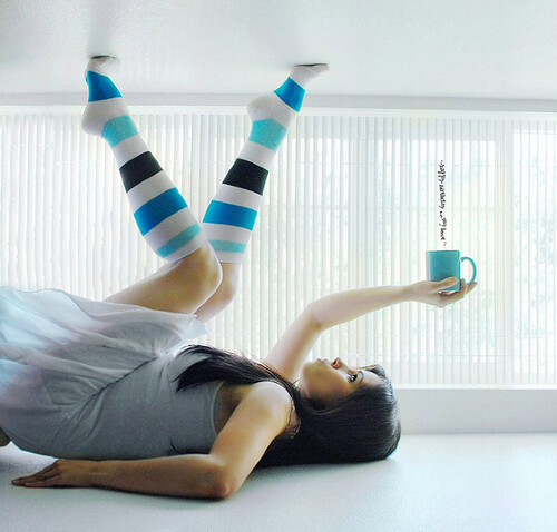 Tea and Turquoise Knee-high socks via Just.K