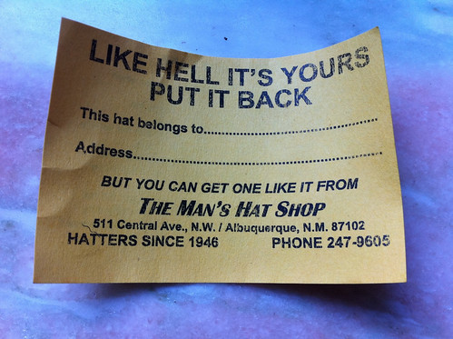 Card from Man's Hat Shop