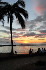Tropical Sunset (BarryFackler) Tags: ocean sunset sea beach clouds palms hawaii sand paradise surf waikiki pacificocean shore palmtree tropical honolulu waikikibeach waikikisunset