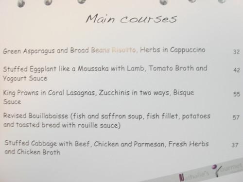 Nathalies Gourmet Studio - Oct menu