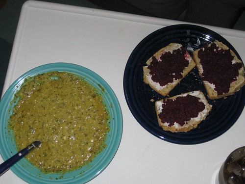 Cauliflower soup  and beet spread
