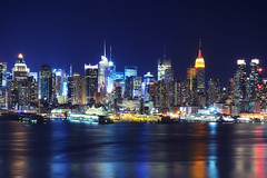 Midtown Manhattan at Night from Old Glory Park (andrew c mace) Tags: nyc newyorkcity longexposure newyork skyline night cityscape manhattan midtown hudsonriver empirestatebuilding chryslerbuilding newyorkatnight bankofamericatower ussintrepid hamiltonpark condenastbuilding newyorktimesbuilding nikkor1855 colorefex nikoncapturenx nikond90 oldglorypark manhattanfromnewjersey nycfromnewjersey