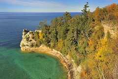 """Miners Castle""  Pictured Rocks National Lakeshore, Upper Michigan  (explore # 280 Oct 10, 2010) (Michigan Nut) Tags: autumn trees orange cliff usa beach nature landscape photography photo rocks photos michigan fallcolors explore lakesuperior recent picturedrocksnationallakeshore minerscastle d700 michigannut"