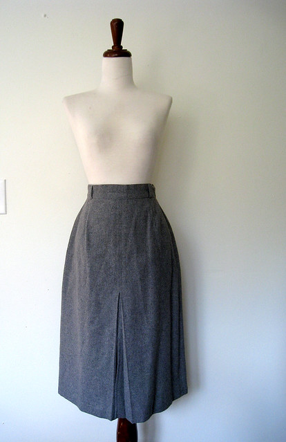 Vintage Gray Wool Skirt, 1970's