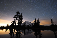 A Night at Mt Rainier - Part 10 1/2  12:13am (David M Hogan) Tags: reflection night washington nikon tarn mtrainier startrails mtrainiernationalpark d5000
