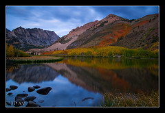 Morning Breaks at North Lake (jeandayphotography.com) Tags: ca trees lake mountains fall water colors grass leaves clouds forest sunrise reflections october rocks canyon aspen sierranevada bishop 2010 jday easternsierranevada jeanday