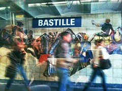 Bastille (benedicte guillon) Tags: people urban motion paris colour underground subway tube platform passengers bastille 3gs iphone iphoneography iphoneographic