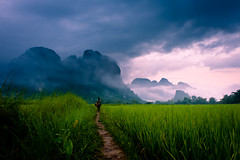 """Path to Wonder"" Loas~Travel~Asia~Photography~Mountains~Travel (Dan Ballard Photography) Tags: world travel sunset favorite mist mountain storm man mountains color beautiful"