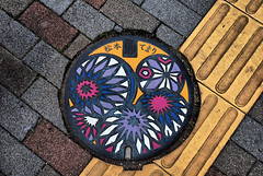 Temari (Mark Liddell) Tags: road city castle japan wall grate japanese ancient treasure pavement ken jo historic special sidewalk national cover keep  nippon walls manhole crow moat matsumoto prefecture sewer shi nagano tohoku nihon kaku jou  gatehouse  karasu  temari matsumotojo tenshu  matsumotojou karasujo hirajiro karasujou