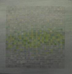 Groen/Grijs, 45*45cm, 500 (Galerie Wegert & Sadocco) Tags: schilderij waterland installatie laboratorium miepvanriessen
