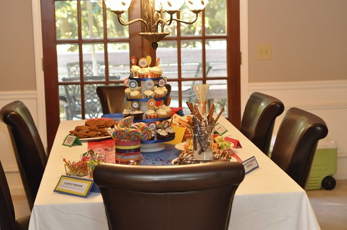birthday party food table. table details. Food labels are