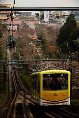 Cable Car (Mark Liddell) Tags: city bridge trees sea tree beach car yellow japan pine bar train season bay three spring sand kyoto heaven track lift upsidedown tracks ken sandbar down cable views  cablecar  nippon hayashi kyouto heavens prefecture inland shi mata upside nihon amanohashidate sankei honshu miyazu  kyto  razan   honsh nozoki honshuu isoshimizu