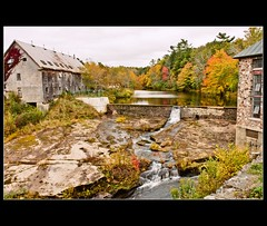 St. Croix River dam..New Minas hydro, near Windsor , Nova Scotia (Nancy Rose) Tags: autumn trees lake rock stone buildings waterfall woods damn stcroixriver hydoplant