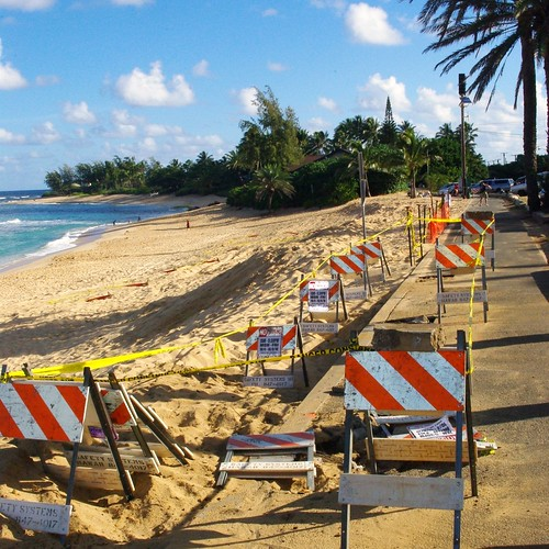 Eroded bike path at Sunset Beach brings a tide of concern as surf season begins