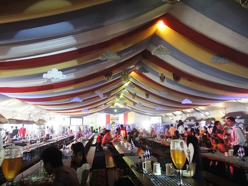 colorful drapings inside the tent