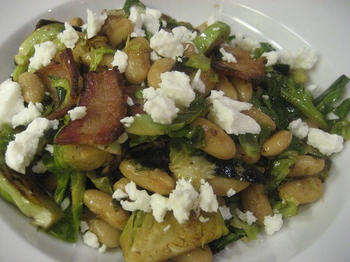 Brussels sprouts, bacon, beans, and balsamic