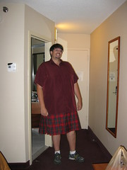 Erich showed up at Stitcher's Hideaway... in his wedding kilt!
