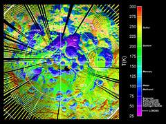 Mapa de temperaturas del polo sur de la Luna por LRO
