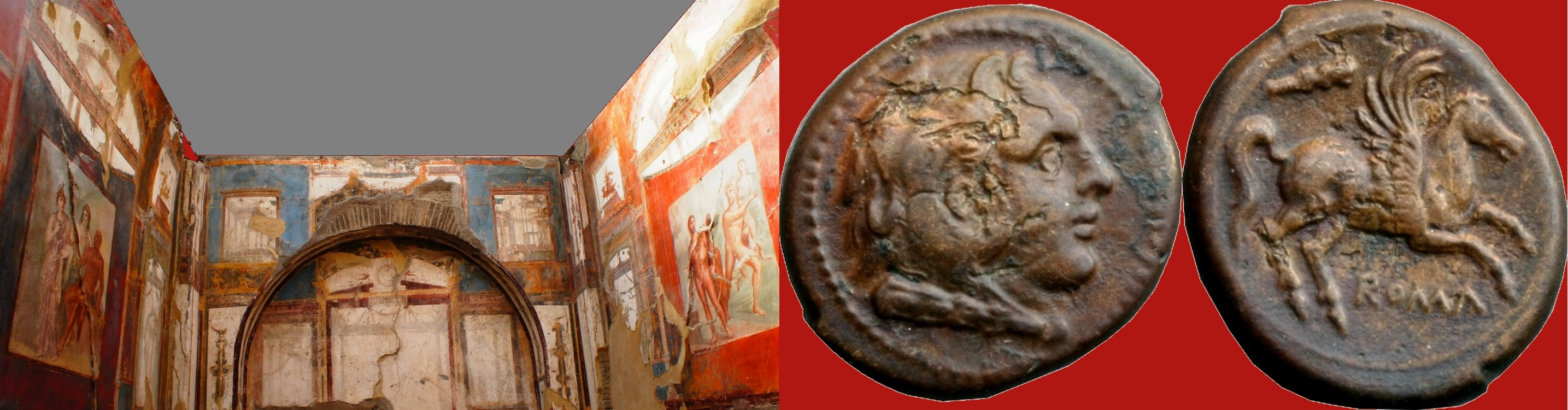 27/3 coin of the Roman Republic 230BC with Hercules, Pegasus and Herculean club, and College of Augustales Herculaneum with frescos of myths of Hercules