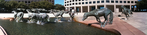Mustang Sculpture at Carpenter Square in Las Colinas, Texas