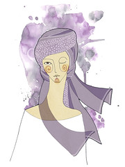 Zodiac Signs  Virgo (ju.hu.) Tags: portrait sign female illustration ink watercolor women drawing zodiac turban horoscope astrology virgo jungfrau gils