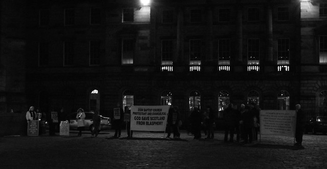 religious protestors outside St Giles