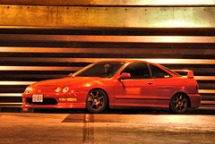 Nikon car parking garage shoot (C. Campbell) Tags: chris light red white black streets wet rain night oregon honda buildings photography nikon downtown shot c garage si parking trails eugene turbo flare civic campbell acura integra hdr rolling lense d3000 ccampbell