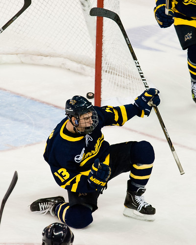 Merrimack's Mike Collins celebrates his second period goal. (Inside Hockey/ Brian Fluharty)