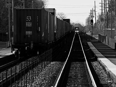 oncoming (contemplative imaging) Tags: november urban blackandwhite bw usa fall monochrome up station america train town photo illinois flickr meetup geneva suburban sub small saturday monochromatic il american unionpacific kanecounty freight lr meetups 2010 chicagoland northeastern eastbound subdivision lr3 olye600 contemplativeimaging olyhg50200 20101106 gnv20101106 ronzack