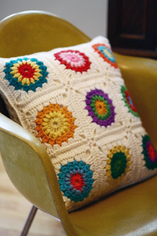 Finish Sunburst Granny Square Pillow