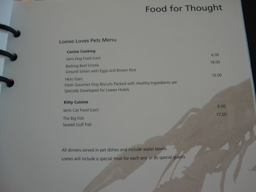 Loew's Pet Room Service Menu