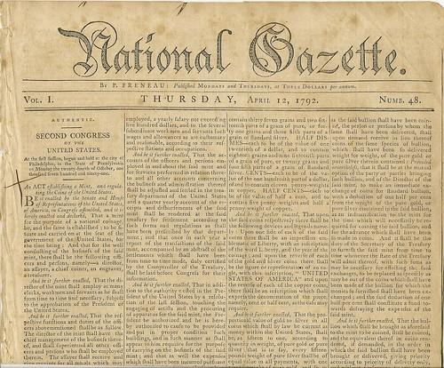 National Gazette, April 12, 1792