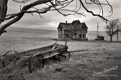 Nothing New Here (Gary Randall) Tags: bw house abandoned monochrome oregon farmhouse ruin dilapidated farmequipment ranchhouse theoldwest garyrandall dsc40262