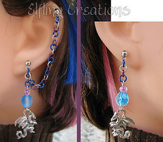 Blue, purple and silver dragon cartilage chain earrings