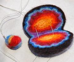 Rainbow geode (ingermaaike2) Tags: felted necklace rainbow felting merinowool felt geode ingermaaike