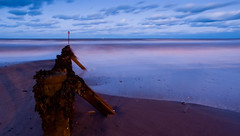 Withernsea Beach (CraigMarston) Tags: ocean uk longexposure sea england beach water night coast twilight waves dusk withernsea