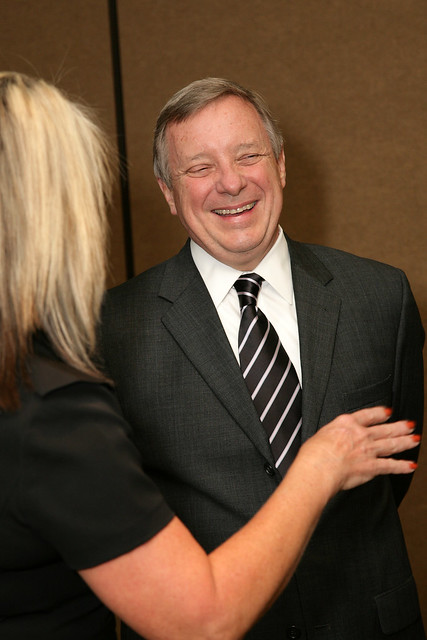 Senator Dick Durbin Speaks to a Supporter