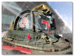 Fireman's Helmet (brooksbos) Tags: city blue red sky urban white boston geotagged ma photography photo memorial respect sony helmet 911 newengland honor cybershot firetruck fireman fireengine firemen firefighter bostonma backbay sonycybershot bostonist bay masschusetts lurvely fire back 02116 engine truck thatsboston dschx5v hx5v brooksbos