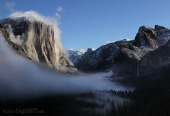 Fog Lightly Touching The Valley (4Durt) Tags: fog nationalpark valley yosemite halfdome elcapitan bridalveilfalls