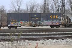 UNIT | CON | DANE | EVOK (grbenching) Tags: railroad train bench graffiti trains dane spraypaint graff railyard con freight bonk unit csx freights benched evok benching