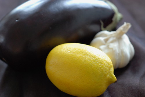 lemon, garlic, aubergine