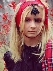 """And you hesitate to laugh..."" (intocollidingentropy) Tags: red portrait black fashion glitter nose model berries blueeyes lips ribbon jewlery plaid stylish checked highfashion livedolls"