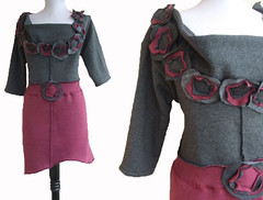 Floral Tunic (RebeccasArtCloset) Tags: urban flower floral fashion diy sweater clothing women recycled handmade burgundy ooak sewing gray charcoal indie sweatshirt etsy apparel ecofriendly reconstructed ruffle tunic rebeccasartcloset