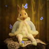 the poet (Martine Roch) Tags: portrait baby cute rabbit animal butterfly square funny surreal photomontage imagination surrealist manray petitechose martineroch flypapertextures