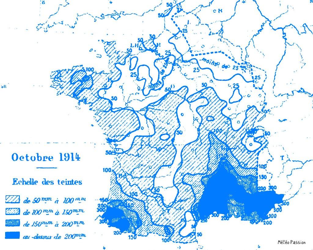 précipitations mensuelles en France en octobre 1914