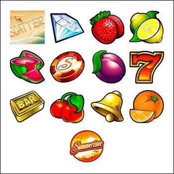 free Summertime slot game symbols