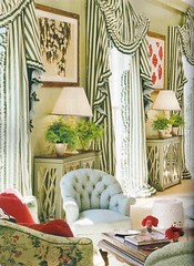 Miles-Redd-19.splendidsass (mscott218) Tags: flowers blue windows wallpaper white green art design pagoda interiors designer interior stripes livingroom veranda mirrored curtains miles walls redd chinoiserie interiordesign eclectic tablescape drapery
